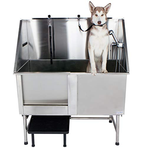 PawBest Stainless Steel Dog Grooming Bath Tub (with Ramp, Faucet, Hoses and Loops)