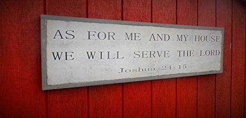As for me and my House Wood Sign Joshua 24:15 Wooden Sign 4'x1' Sign Distressed Wood Scripture Sgin