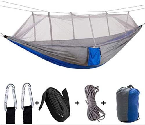 TOPCHANCES Camping Hammock, Portable Ultralight Hammocks with Mosquito Net and Tree Straps for Backpacking, Camping, Travel, Beach, Yard Not Include Rain Fly