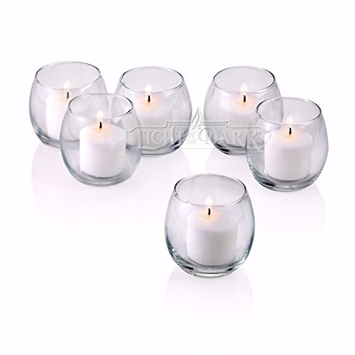 PARNOO Votive Candle Holders Bulk Set of 24 - Glass Votive Tealight Holders - Perfect for Wedding Centerpices, Home Decor (Hurricane Clear) by PARNOO (Image #2)