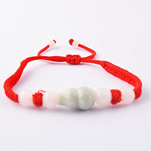 Feng Shui Red String Bracelet with Jade Wulou/ Hu Lu for Good Fortune & Wealth Luck + One Free Red String Bracelet ()