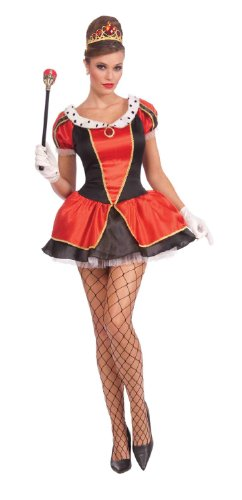 Forum Novelties Royal Tease Flirty Jester Costume, Red/Black, (Lady Of The Court Halloween Costume)