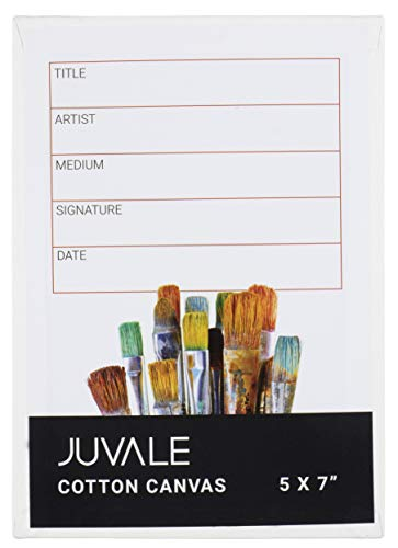 Cotton Canvas Panels - 24-Pack 5 x 7 Inches Canvas Boards, Painting Canvas, for Oil Paint, Acrylic, Watercolor, Other Art Media Painting, for Artists, Hobby Painters, Kids, Students, 100% Cotton from Juvale