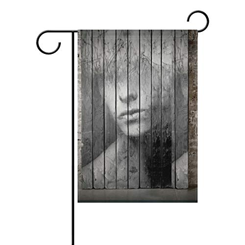 HSGRSSGF Primitive Portrait Face Stage Boards Theater Texture Garden Flag Vertical Double Sided Yard Flags Outdoor Decorative House Yard Flag 12x18 Inch Polyester Durable