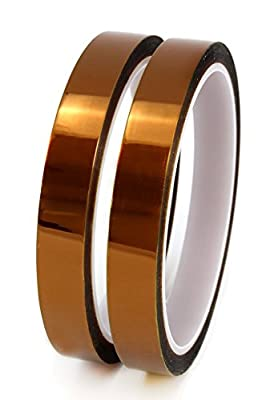 (2-Pack) 1 Mil Hi-Temp Kapton Tape; 2 Roll Set of Polyimide Film Tape for 3D Printing, Soldering, Insulating Circuit Boards & More!