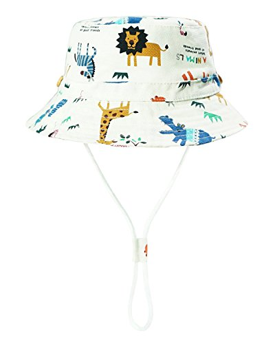 2be919c82f4 Baby Sun Hat Toddler Kids Dinosaur Hat Sun Protection Bucket with Chin  Strap (2-