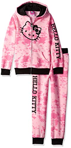 Hello Kitty Big Girls 2 Piece Hooded Fleece Active Set, Candy Pink 8 ()