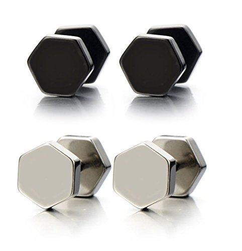 BodyJ4You Surgical Steel Hexagon Fake Plugs Screw Stud Men's Earrings 2 Pairs