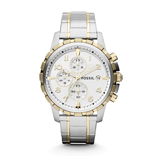 Gold Chronograph Swiss - Fossil Men's Dean Quartz Two-Tone Stainless Steel Chronograph Watch Silver, Gold (Model: FS4795)
