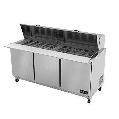 Asber APTM-72-30 3-Door 30 Pan Mega Top Sandwich / Salad Prep Table ()