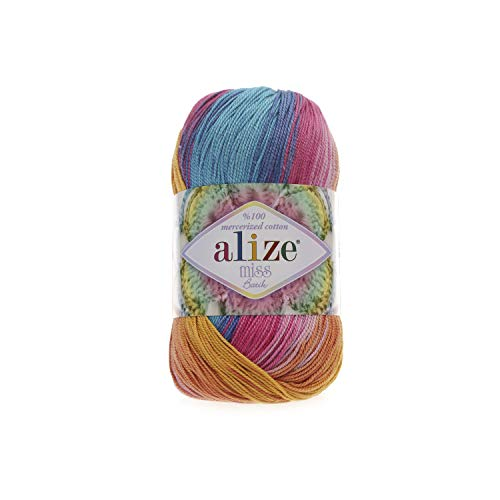 (100% Mercerized Cotton Yarn Alize Miss Batik Thread Crochet Lace Hand Knitting Craft Art Lot of 4skn 200gr Color Gradient 4536)