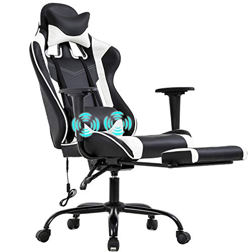 PC-Gaming-Chair-Racing-Office-Chair-Ergonomic-Desk-Chair-Massage-PU-Leather-Recliner-Computer-Chair-with-Lumbar-Support-Headrest-Armrest-Footrest-Rolling-Swivel-Task-Chair-for-Adults-White