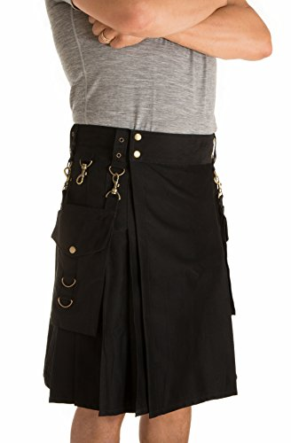 Damn Near Kilt 'Em Men's Highlander Utility Kilt Large Black - Irish Kilt