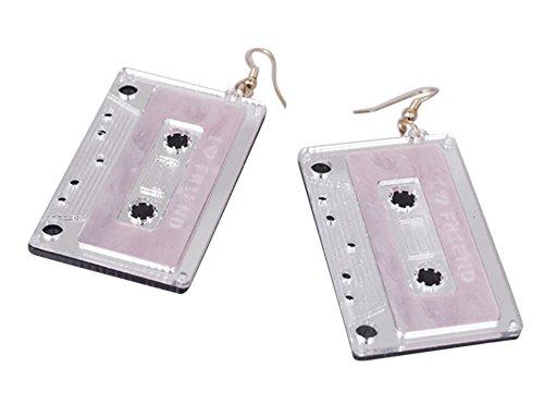 CutieJewelry Cassette Tape Dangle Cute Pretty Earrings (White)