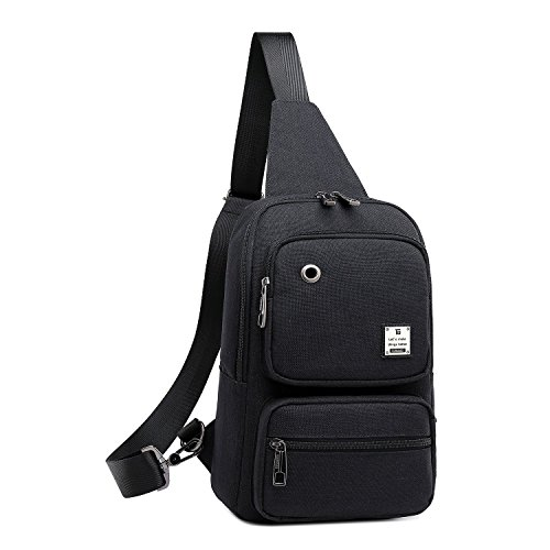 Sling Bag, Sling Backpack Outdoor Crossbody Chest Pack Bag Multipurpose Daypack (1808#Black)