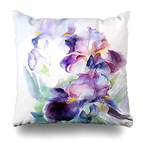 Ahawoso Throw Pillow Cover Garden Purple Bright Flower Abstract Iris Digital Floral Graphics Watercolor Nature Blue Violet Bud Decorative Cushion Case Square 20