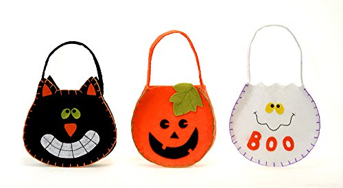 Halloween Craft Felt Candy Goodie Bags - 3 Pack Assorted, 6.5