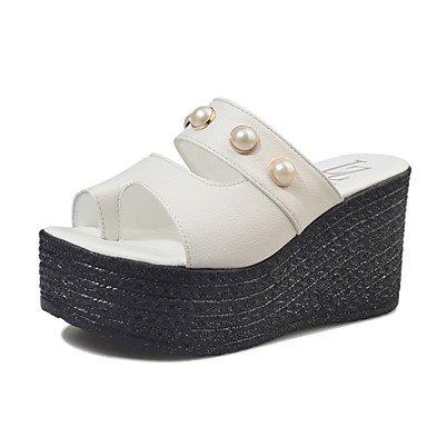 Señoras Sandalias de las mujeres sandalias verano Mary Jane Piel Sintética al aire libre Casual Cuña Talón sintética Pearl Walking blanco