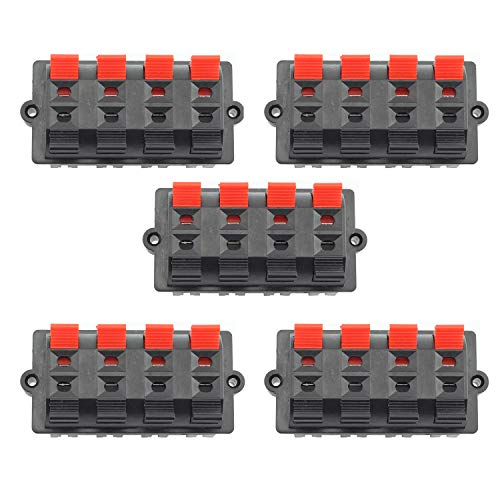 Tegg 5 PCS 8 Position 2 Row Push Release Connector Plate Stereo Speaker Terminal Strip Block