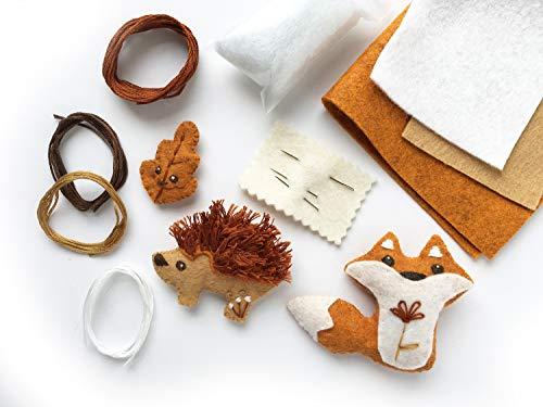 Fox and Hedgehog mini felt woodland animals plush DIY craft kit (Needle Embellishment)