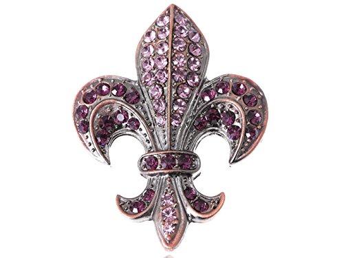 Alilang Copper Silvery Tone Purple Rhinestones French Fleur De Lis Lily Brooch Pin