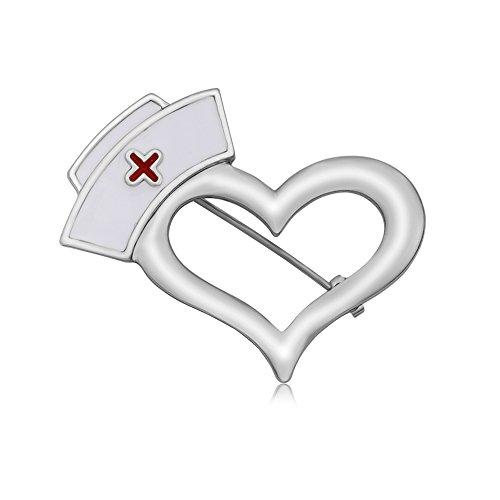 MANZHEN Enamel Nurse Hat Heart Brooch Pins for Doctor Nurse (Silver)
