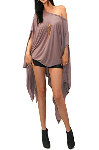 Vivicastle Women's Loose Bat Wing Dolman Poncho Tunic Dress Top (one Size, Mocha) -