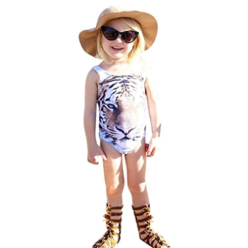 Coper Little Girls Tiger Print One Piece Swimsuit Bathing Suit