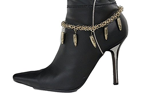 TFJ Women Fashion Boot Bracelet Bling Metal Chains High Heel Shoes Small Bullets Charm Rusy - Lady Not Costume Gaga In