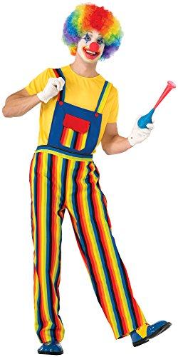 Forum Novelties Stripes The Clown Costume, Multi, (Adult Overalls Clown Costumes)