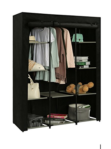 Home-Like Portable Wardrobe Bedroom Armoires Clothes Closet Non-Woven Fabric Wardrobe Storage Cabinet Clothes Storage Organizer 10 Closet Shelves 51.18