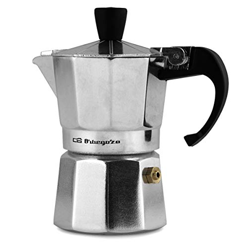 Orbegozo KF 600 – Cafetera italiana de aluminio, 6 tazas de capacidad, mango ergonómico, tapón de seguridad, filtro…