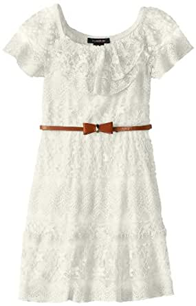 My Michelle Big Girls' Ruffle Sleeve Lace Dress with Bow Belt, White, 12
