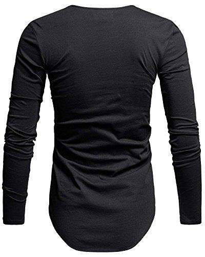 Camiseta Fit Ropa Manga Casuales Negro Larga T Algodón shirts Deportiva Hombre De Basicas Slim rrUHXx