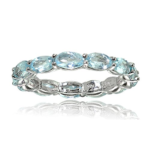 Sterling Silver Blue Topaz 5x3mm Oval-cut Eternity Band Ring, Size 10