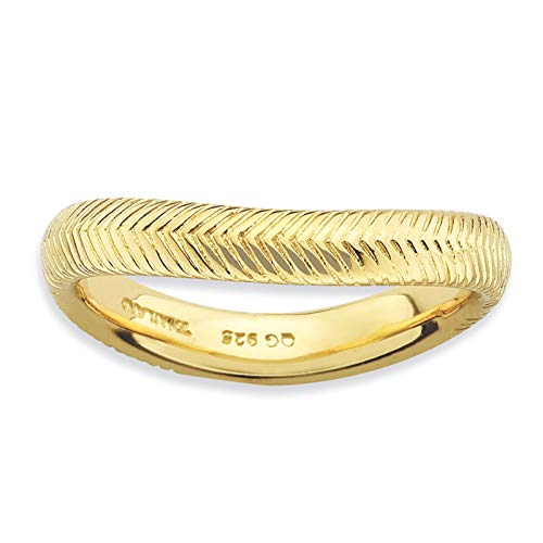- 925 Sterling Silver Gold-tone Textured Wave Ring Band Size 9 by Stackable Expressions