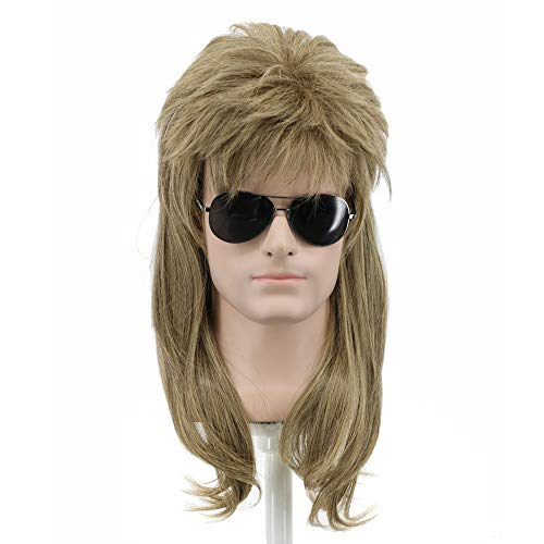 (Yuehong Long Rock Star Style Wig Halloween Cosplay Wig Mullet Wig Heat Resistant Wigs(Brown))
