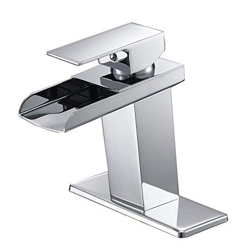 Bathlavish Waterfall Bathroom Sink Faucet Single Handle One Hole Commercial Deck Mount Lavatory Chrome Lead-Free