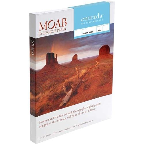 Moab Entrada Rag Textured 300 Matte Surface Single-Sided Inkjet Print Paper, 22.5mil, 300gsm, 5x7'', 25 Sheets by Moab