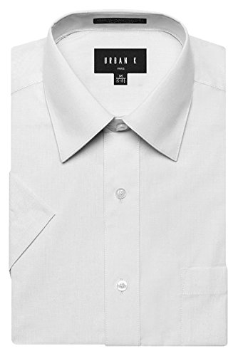 Mens Solid White Dress (URBAN K Men's Classic Fit Solid Formal Collar Short Sleeve Dress Shirts Regular and Plus Size white L / 16-16.5 N)