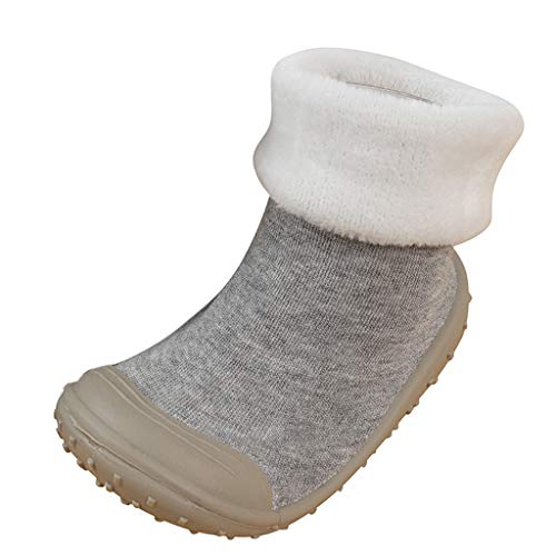 (SMALLE ◕‿◕ Baby Socks Shoes, Baby Toddler Boys Solid Warm Prewalker Socks Shoes Gray)