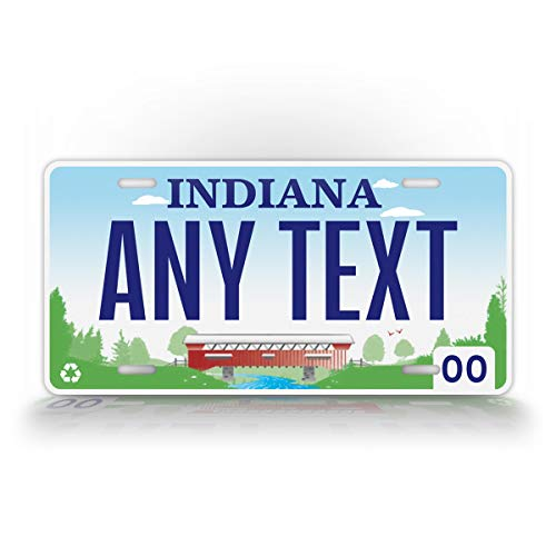 SignsAndTagsOnline Custom Indiana State License Plate in Replica Personalized Text Novelty Auto Tag