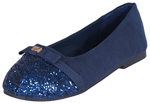 Bebe Girls Slip-on Microsuede Ballet Flats with Glitter Top Cap and Bow, Navy, Size 2/3