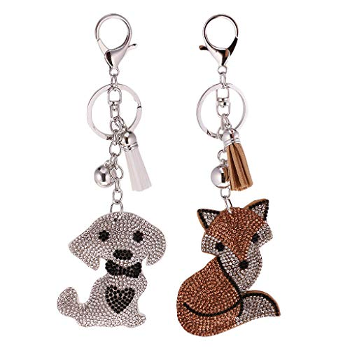 NATFUR Dog Lowrie Crystal Rhinestone Keyring Charm Pendant Bag Purse Car Key Chain Elegant Novelty Cute Holder Perfect Pretty Novelty Fine