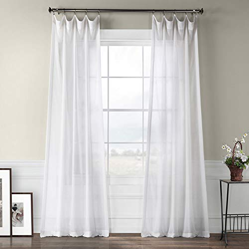 Half Price Drapes SHFLNCH-M011-120 Faux Linen Sheer Curtain, White Orchid