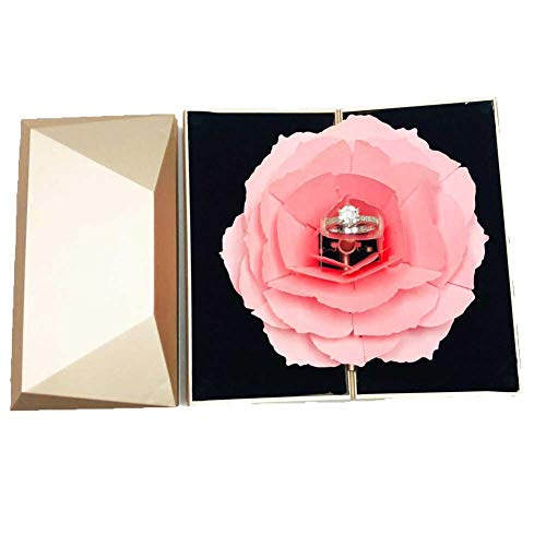 (TOBABYFAT 3D Rose Ring Box Pop Up Blooming Flower Engagement Wedding Ring Box Wedding Engagement Jewelry Storage Holder Case for Valentine's Day Wedding Gift (Gold) )