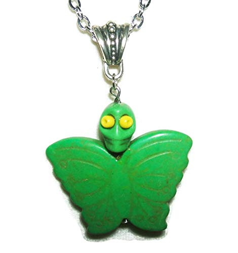 GREEN MARIPOSA BUTTERFLY Necklace Pendant SUGAR SKULL DAY OF THE DEAD Silver Pltd ()
