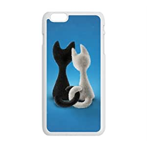 Custom Animal Cat Painting Blue Background Cute Pattern Case For iPhone 6 Plus