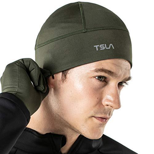 TSLA Men and Women Thermal Fleece Lined Skull Cap, Winter Ski Cycling Cap Under Helmet Liner, Cold Weather Running Beanie Hat