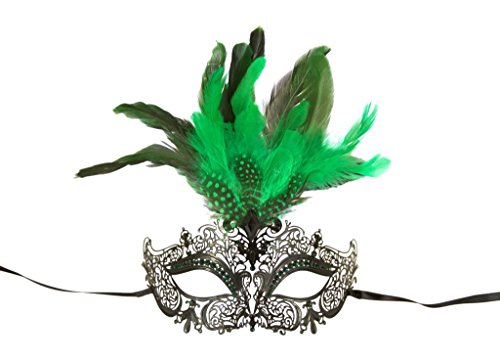 KAYSO INC Classic Venetian Laser Cut Masquerade Mask, Black Green Feathers - Green Feather Mask